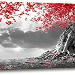 Canvas Wall Art red Tree Painting for Living Room